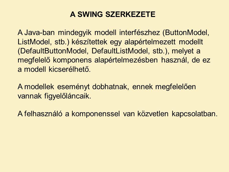 A SWING SZERKEZETE A Java-ban mindegyik modell interfészhez (ButtonModel, ListModel, stb.) készítettek egy alapértelmezett modellt (DefaultButtonModel, DefaultListModel, stb.), melyet a megfelelő komponens alapértelmezésben használ, de ez a modell kicserélhető.