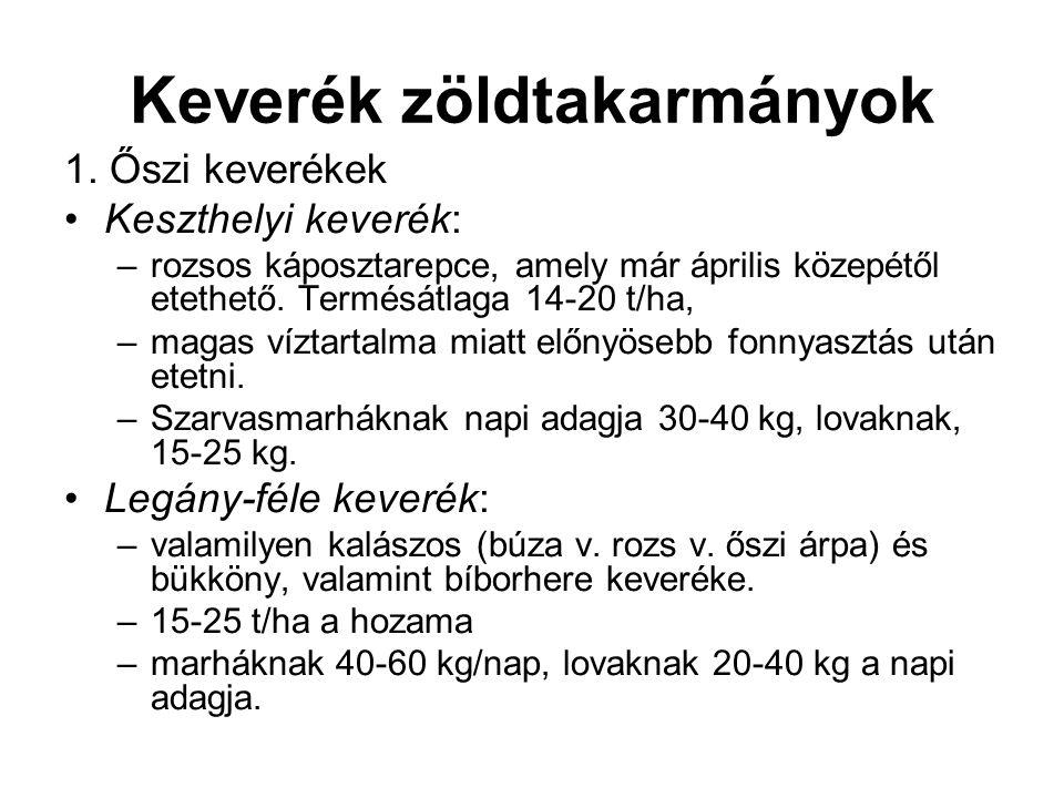 Keverék zöldtakarmányok 1. Őszi keverékek Keszthelyi keverék: –rozsos káposztarepce, amely már április közepétől etethető. Termésátlaga 14-20 t/ha, –m