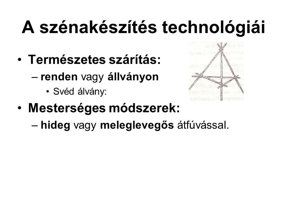 A szénakészítés technológiái Természetes szárítás: –renden vagy állványon Svéd álvány: Mesterséges módszerek: –hideg vagy meleglevegős átfúvással.
