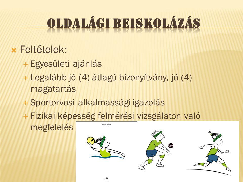  Feltételek:  Egyesületi ajánlás  Legalább jó (4) átlagú bizonyítvány, jó (4) magatartás  Sportorvosi alkalmassági igazolás  Fizikai képesség felmérési vizsgálaton való megfelelés
