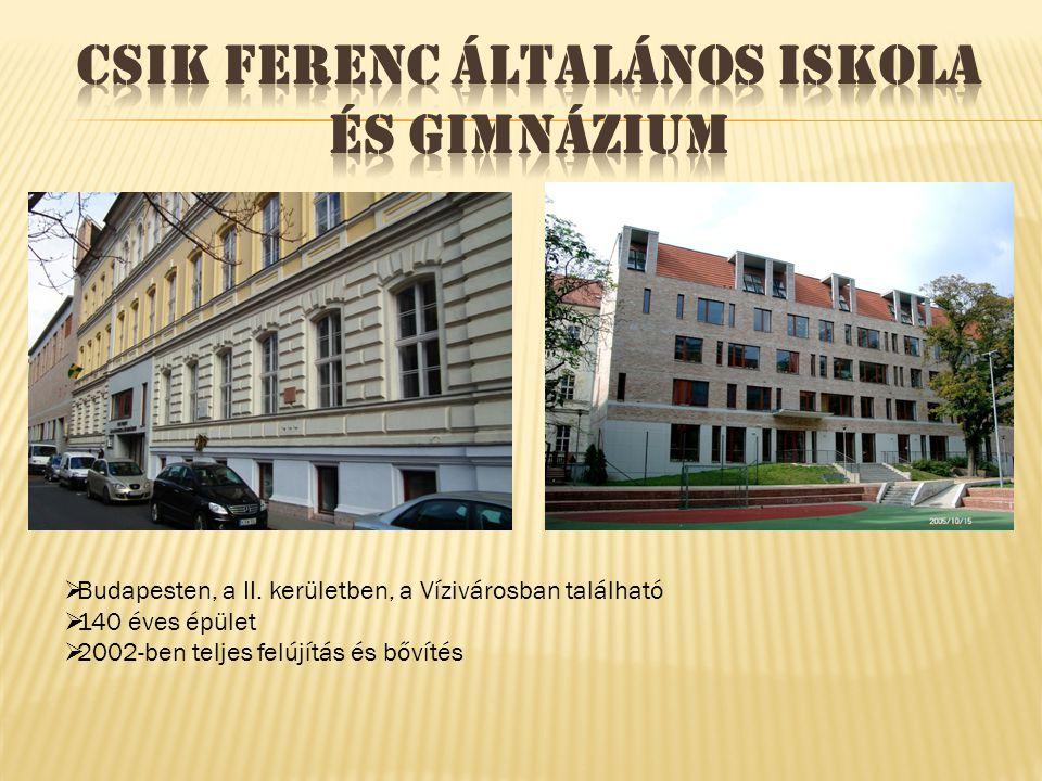  Budapesten, a II. kerületben, a Vízivárosban található  140 éves épület  2002-ben teljes felújítás és bővítés