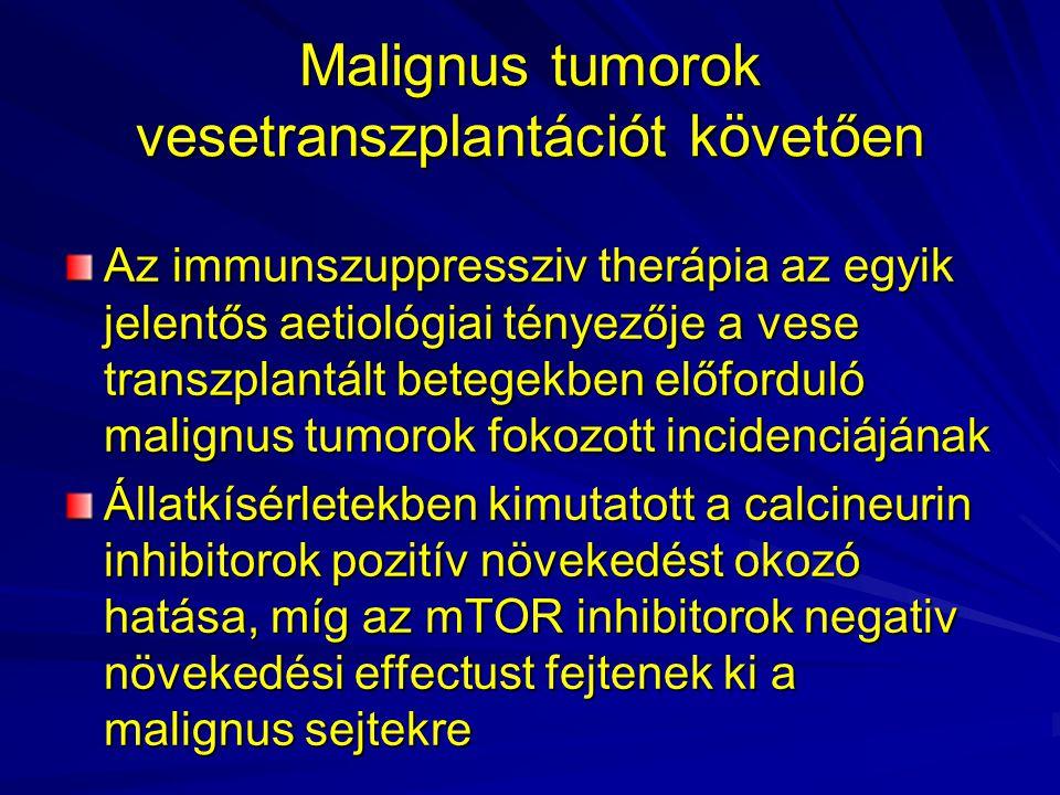 Malignus tumorok vesetranszplantációt követően Az immunszuppressziv therápia az egyik jelentős aetiológiai tényezője a vese transzplantált betegekben