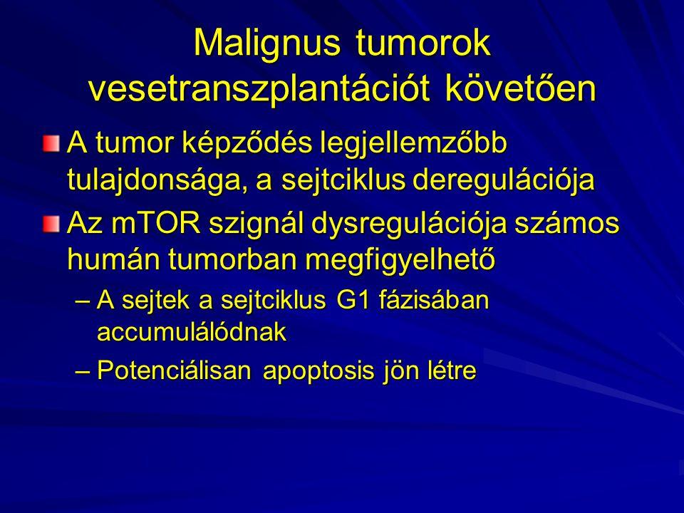 Malignus tumorok vesetranszplantációt követően A tumor képződés legjellemzőbb tulajdonsága, a sejtciklus deregulációja Az mTOR szignál dysregulációja