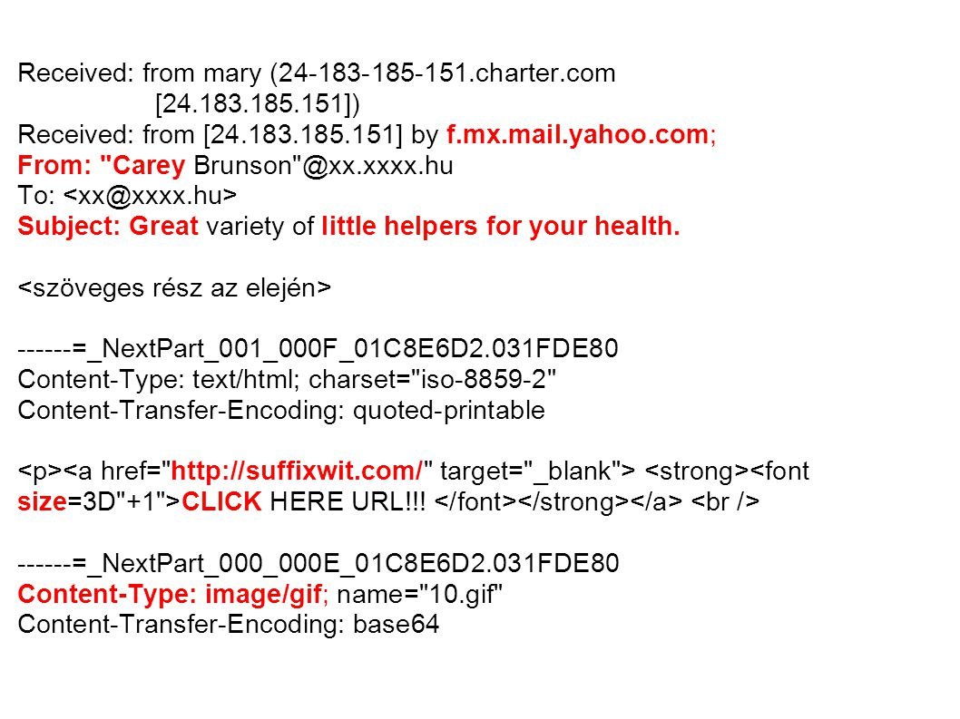 Received: from mary (24-183-185-151.charter.com [24.183.185.151])‏ Received: from [24.183.185.151] by f.mx.mail.yahoo.com; From: Carey Brunson @xx.xxxx.hu To: Subject: Great variety of little helpers for your health.