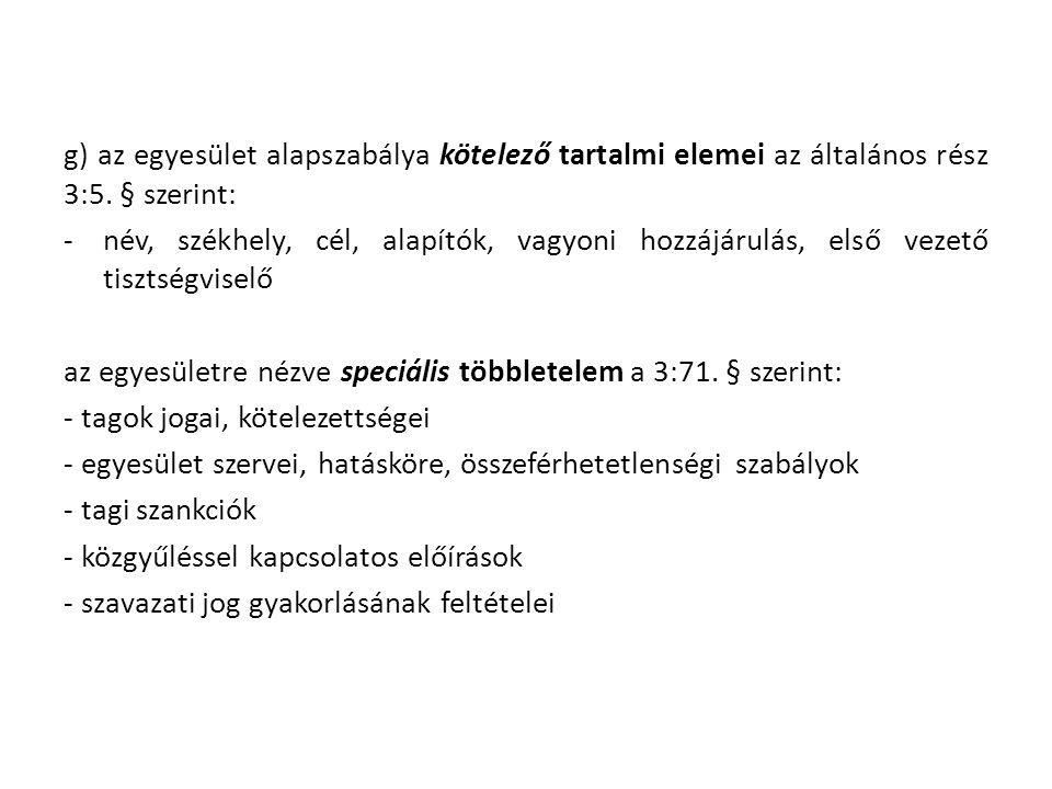 g) az egyesület alapszabálya kötelező tartalmi elemei az általános rész 3:5.
