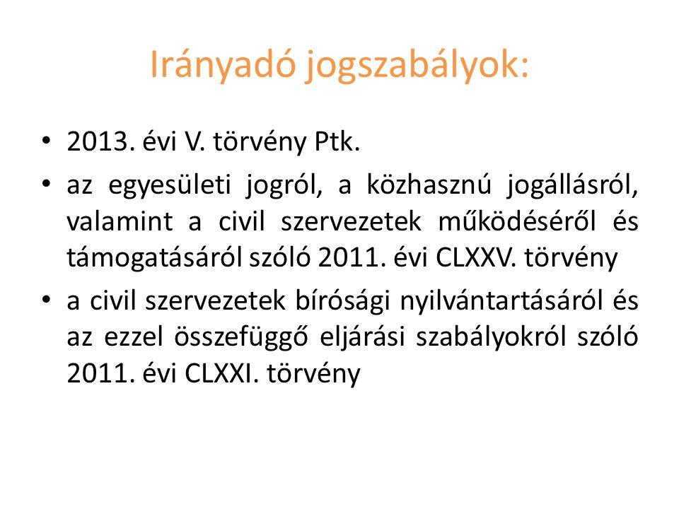 Irányadó jogszabályok: 2013.évi V. törvény Ptk.