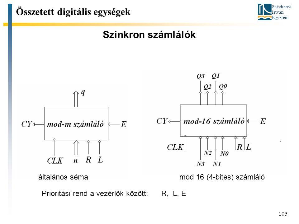 Széchenyi István Egyetem 105 Szinkron számlálók Összetett digitális egységek általános sémamod 16 (4-bites) számláló Prioritási rend a vezérlők között: R, L, E
