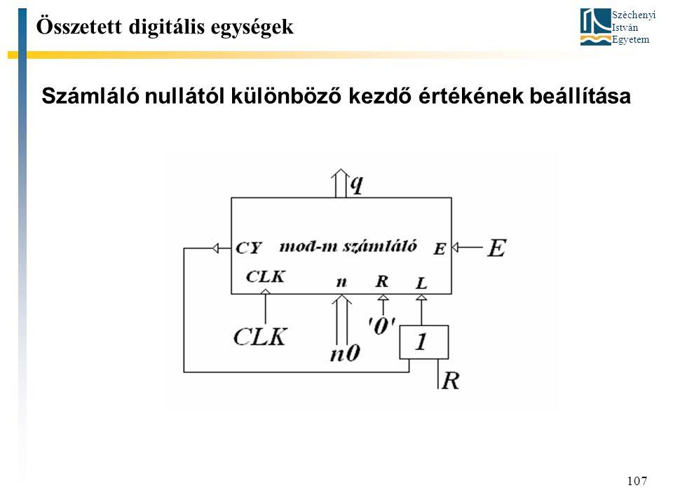 Széchenyi István Egyetem 107 Számláló nullától különböző kezdő értékének beállítása Összetett digitális egységek