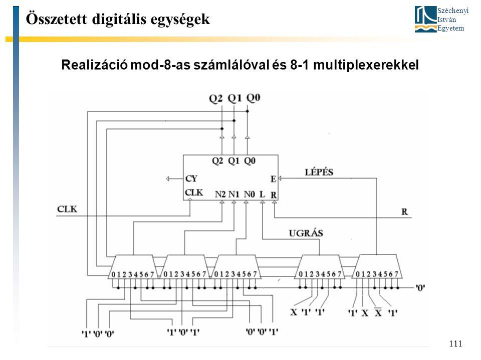 Széchenyi István Egyetem 111 Realizáció mod-8-as számlálóval és 8-1 multiplexerekkel Összetett digitális egységek