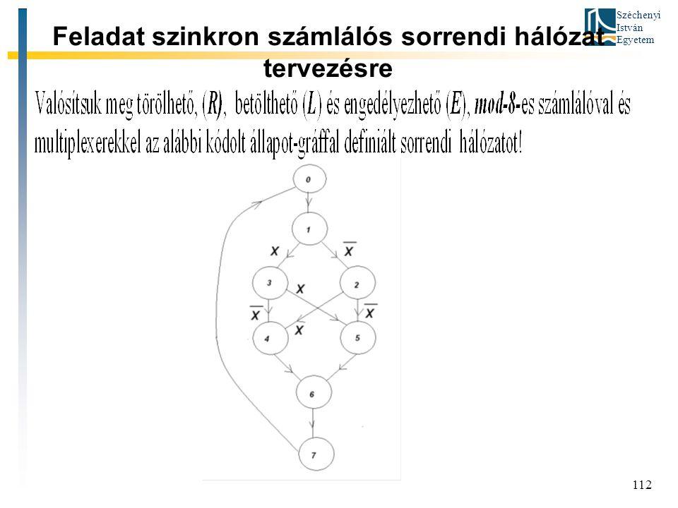 Széchenyi István Egyetem 112 Feladat szinkron számlálós sorrendi hálózat tervezésre