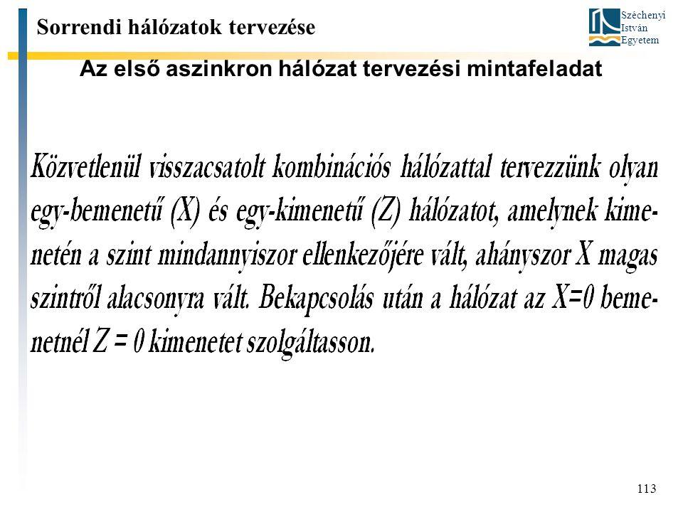 Széchenyi István Egyetem 113 Az első aszinkron hálózat tervezési mintafeladat Sorrendi hálózatok tervezése