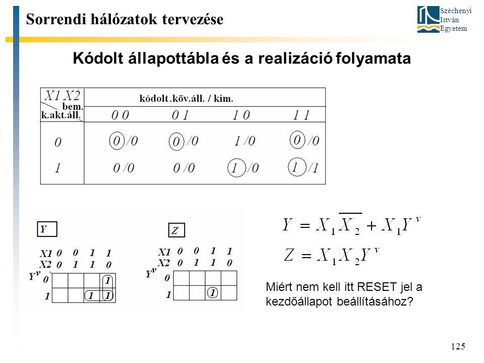 Széchenyi István Egyetem 125 Kódolt állapottábla és a realizáció folyamata Sorrendi hálózatok tervezése Miért nem kell itt RESET jel a kezdőállapot beállításához?