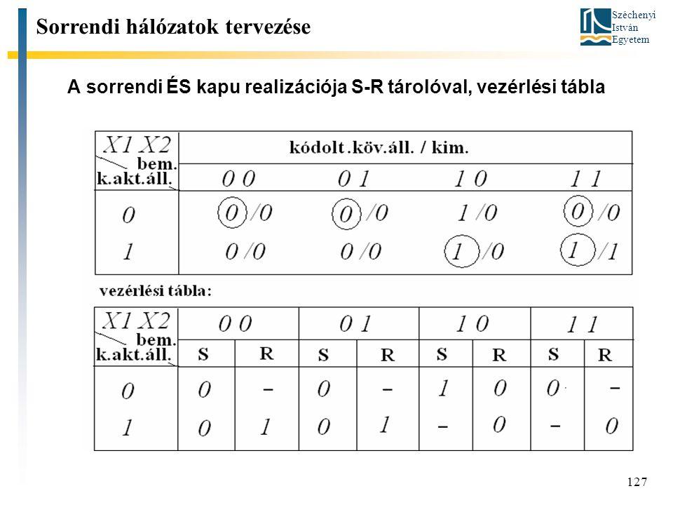 Széchenyi István Egyetem 127 A sorrendi ÉS kapu realizációja S-R tárolóval, vezérlési tábla Sorrendi hálózatok tervezése