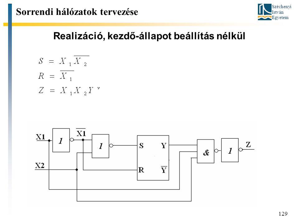 Széchenyi István Egyetem 129 Realizáció, kezdő-állapot beállítás nélkül Sorrendi hálózatok tervezése