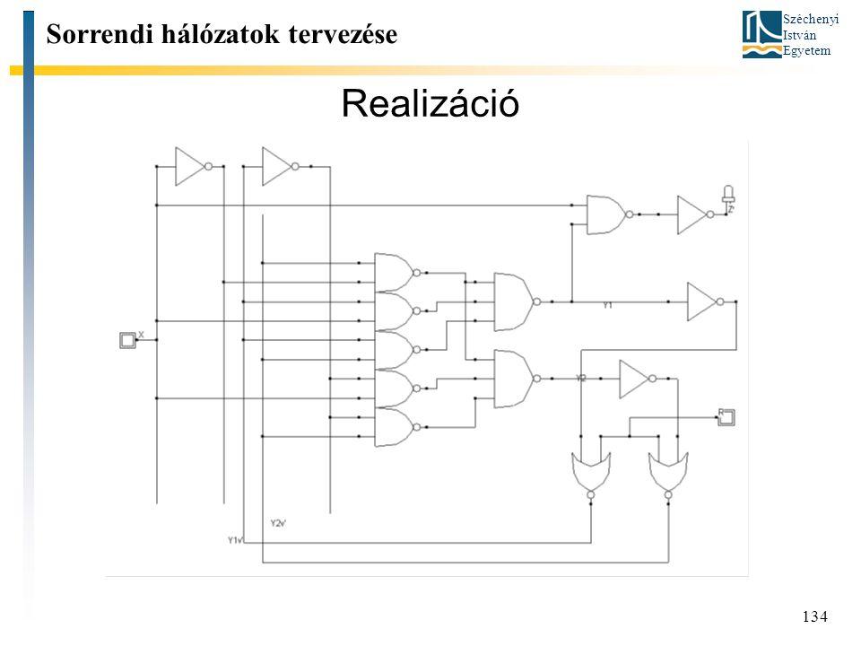 Széchenyi István Egyetem 134 Realizáció Sorrendi hálózatok tervezése