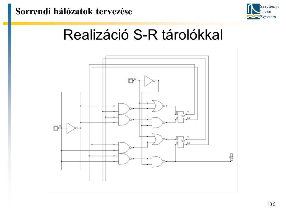 Széchenyi István Egyetem 136 Realizáció S-R tárolókkal Sorrendi hálózatok tervezése