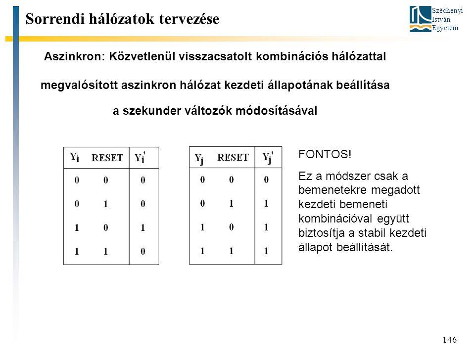 Széchenyi István Egyetem 146 Aszinkron: Közvetlenül visszacsatolt kombinációs hálózattal megvalósított aszinkron hálózat kezdeti állapotának beállítása a szekunder változók módosításával Sorrendi hálózatok tervezése FONTOS.