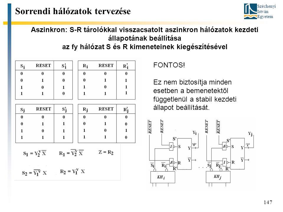 Széchenyi István Egyetem 147 Aszinkron: S-R tárolókkal visszacsatolt aszinkron hálózatok kezdeti állapotának beállítása az fy hálózat S és R kimeneteinek kiegészítésével Sorrendi hálózatok tervezése FONTOS.