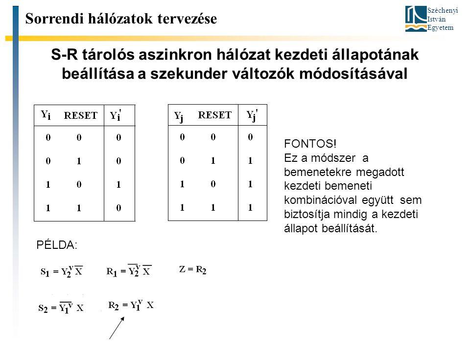 Széchenyi István Egyetem S-R tárolós aszinkron hálózat kezdeti állapotának beállítása a szekunder változók módosításával FONTOS! Ez a módszer a bemene