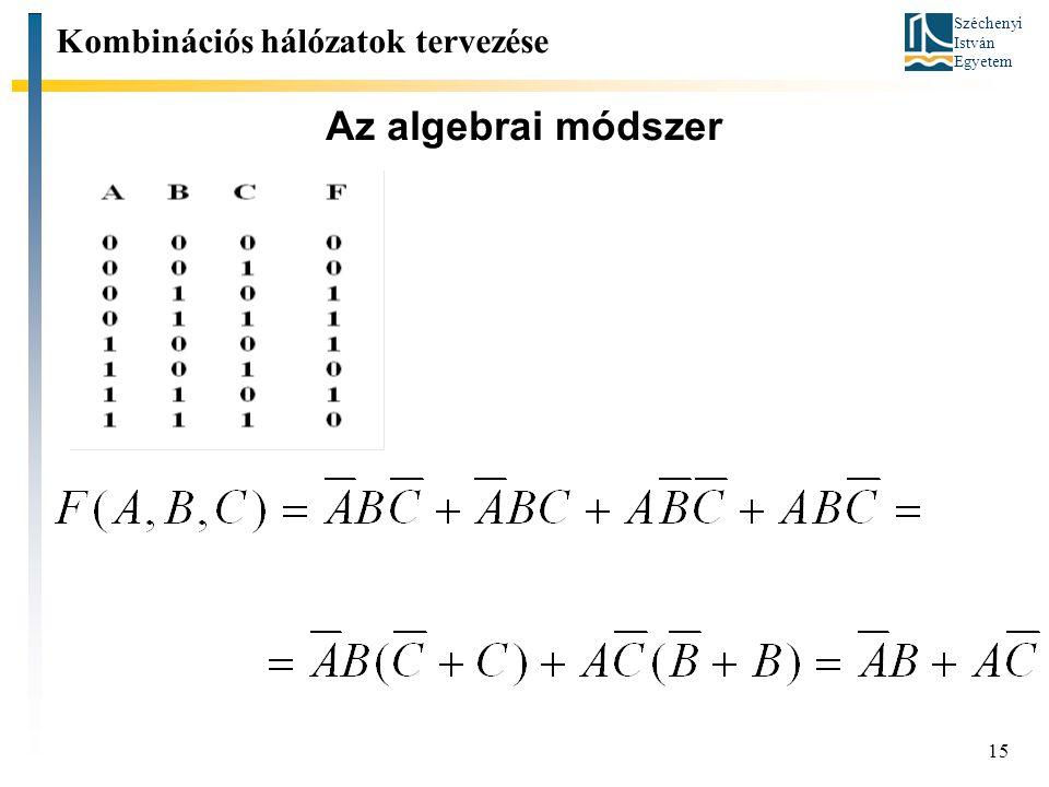 Széchenyi István Egyetem 15 Az algebrai módszer Kombinációs hálózatok tervezése