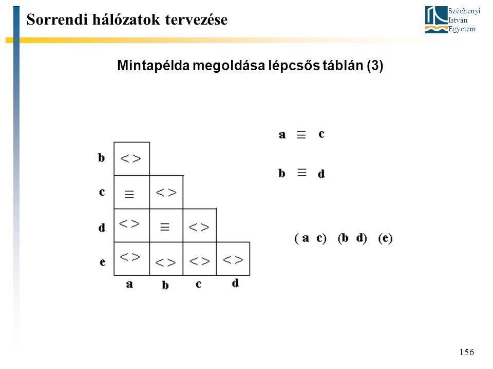 Széchenyi István Egyetem 156 Mintapélda megoldása lépcsős táblán (3) Sorrendi hálózatok tervezése