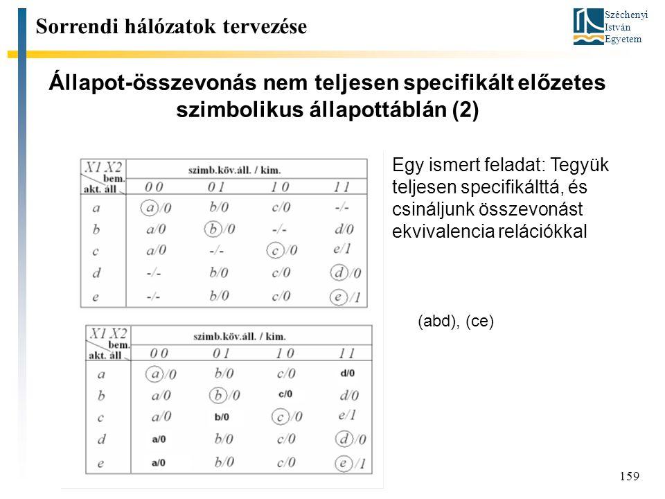 Széchenyi István Egyetem 159 Állapot-összevonás nem teljesen specifikált előzetes szimbolikus állapottáblán (2) (abd), (ce) Sorrendi hálózatok tervezése Egy ismert feladat: Tegyük teljesen specifikálttá, és csináljunk összevonást ekvivalencia relációkkal