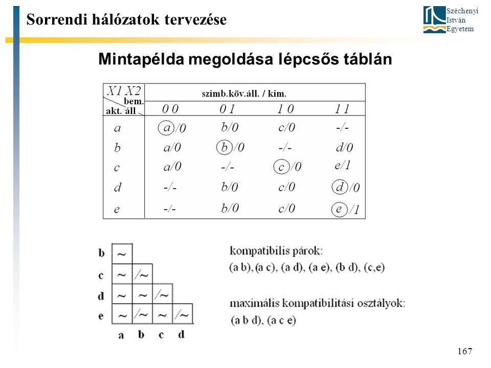 Széchenyi István Egyetem Mintapélda megoldása lépcsős táblán 167 Sorrendi hálózatok tervezése