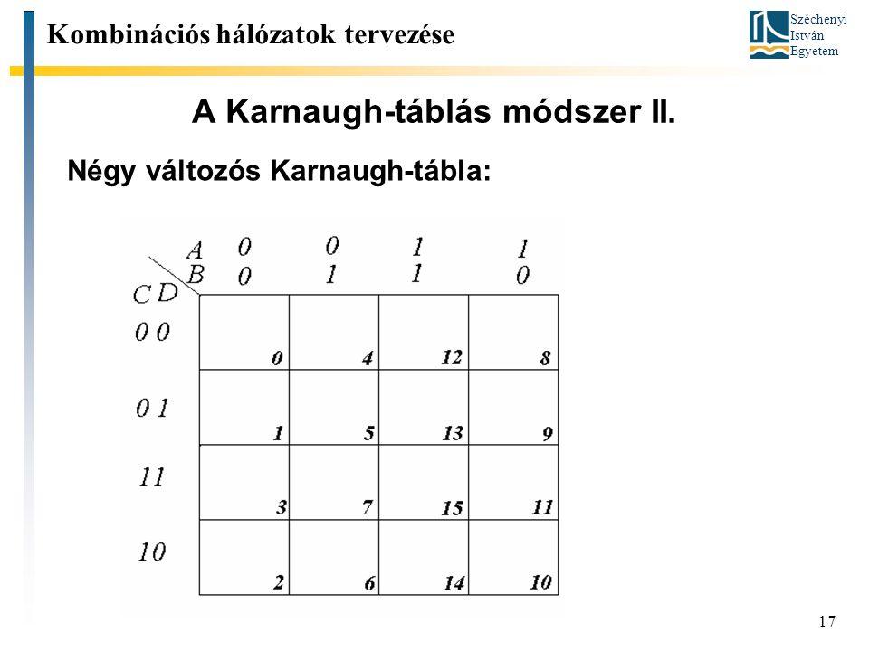 Széchenyi István Egyetem 17 A Karnaugh-táblás módszer II. Kombinációs hálózatok tervezése Négy változós Karnaugh-tábla: