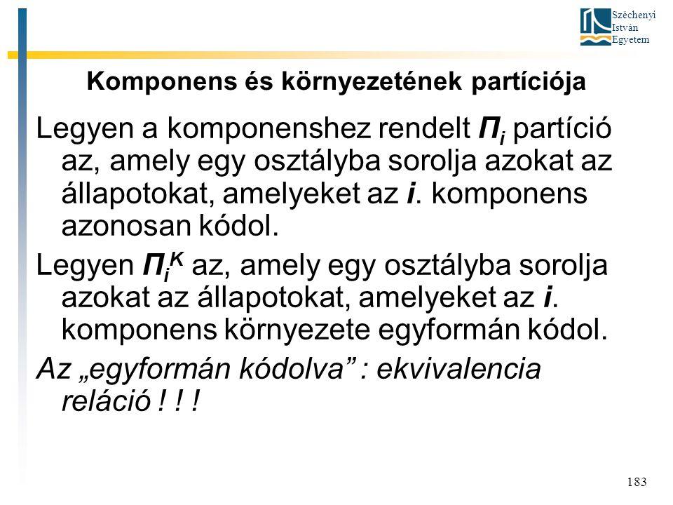 Széchenyi István Egyetem 183 Komponens és környezetének partíciója Legyen a komponenshez rendelt Π i partíció az, amely egy osztályba sorolja azokat az állapotokat, amelyeket az i.