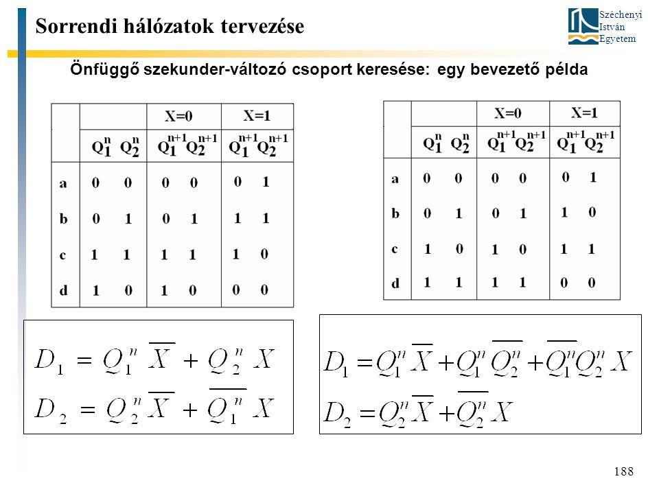 Széchenyi István Egyetem 188 Önfüggő szekunder-változó csoport keresése: egy bevezető példa Sorrendi hálózatok tervezése
