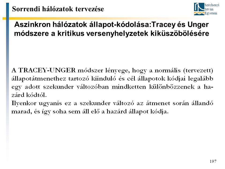 Széchenyi István Egyetem 197 Aszinkron hálózatok állapot-kódolása:Tracey és Unger módszere a kritikus versenyhelyzetek kiküszöbölésére Sorrendi hálózatok tervezése