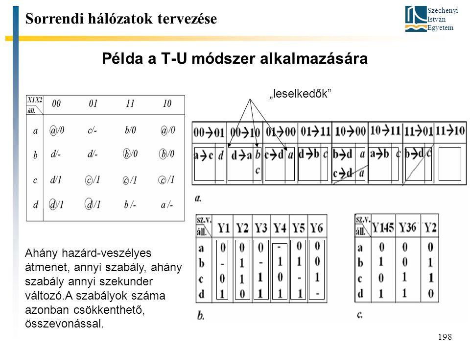 Széchenyi István Egyetem 198 Példa a T-U módszer alkalmazására Sorrendi hálózatok tervezése Ahány hazárd-veszélyes átmenet, annyi szabály, ahány szabály annyi szekunder változó.A szabályok száma azonban csökkenthető, összevonással.