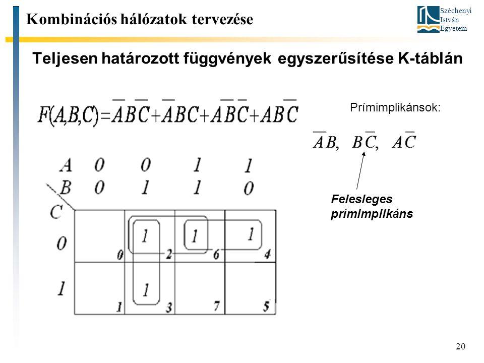 Széchenyi István Egyetem 20 Teljesen határozott függvények egyszerűsítése K-táblán Kombinációs hálózatok tervezése Prímimplikánsok: Felesleges prímimplikáns