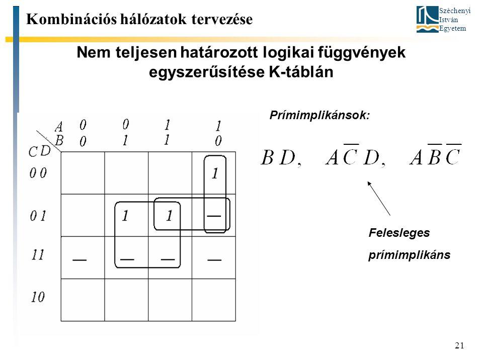 Széchenyi István Egyetem 21 Nem teljesen határozott logikai függvények egyszerűsítése K-táblán Kombinációs hálózatok tervezése Prímimplikánsok: Felesleges prímimplikáns