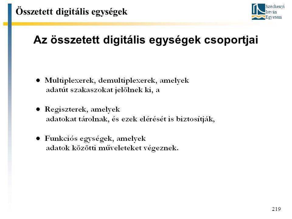 Széchenyi István Egyetem 219 Az összetett digitális egységek csoportjai Összetett digitális egységek