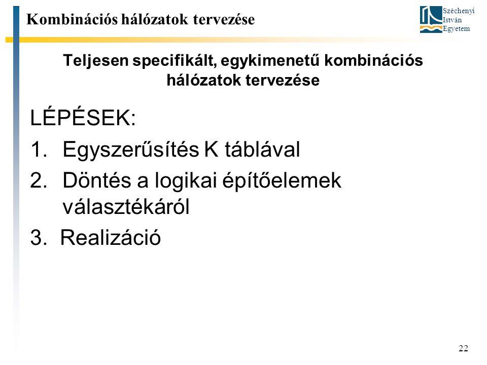 Széchenyi István Egyetem 22 Teljesen specifikált, egykimenetű kombinációs hálózatok tervezése Kombinációs hálózatok tervezése LÉPÉSEK: 1.Egyszerűsítés K táblával 2.Döntés a logikai építőelemek választékáról 3.
