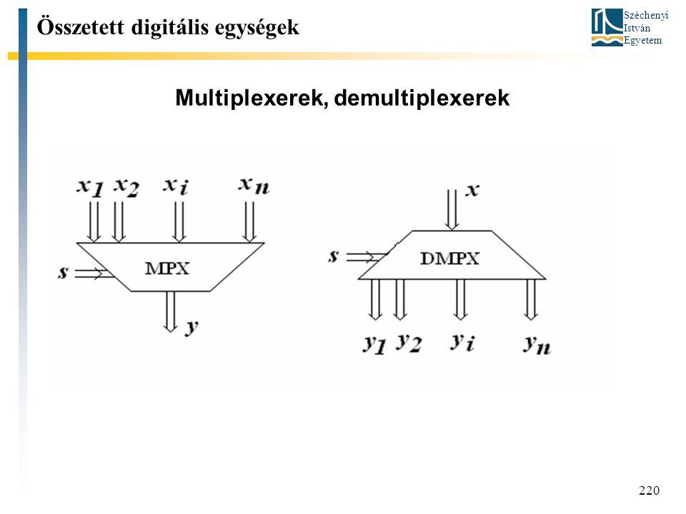 Széchenyi István Egyetem 220 Multiplexerek, demultiplexerek Összetett digitális egységek