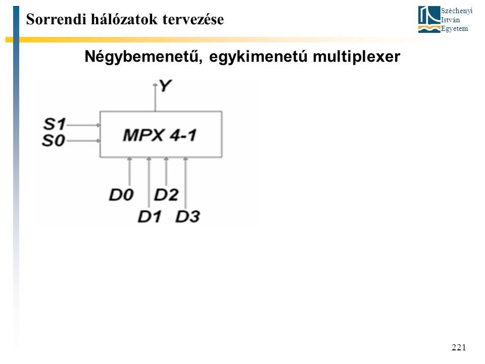 Széchenyi István Egyetem 221 Négybemenetű, egykimenetú multiplexer Sorrendi hálózatok tervezése