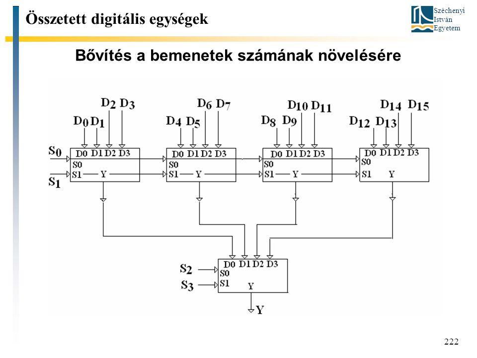 Széchenyi István Egyetem 222 Bővítés a bemenetek számának növelésére Összetett digitális egységek