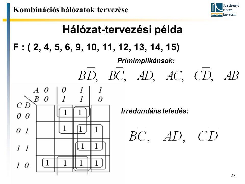 Széchenyi István Egyetem 23 Hálózat-tervezési példa Kombinációs hálózatok tervezése F : ( 2, 4, 5, 6, 9, 10, 11, 12, 13, 14, 15) Prímimplikánsok: Irredundáns lefedés: