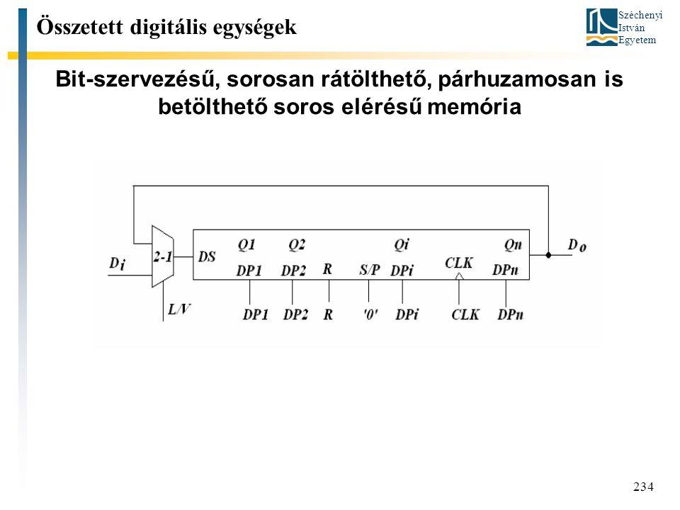Széchenyi István Egyetem 234 Bit-szervezésű, sorosan rátölthető, párhuzamosan is betölthető soros elérésű memória Összetett digitális egységek