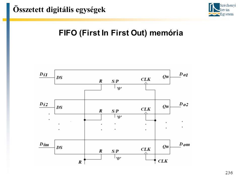 Széchenyi István Egyetem 236 FIFO (First In First Out) memória Összetett digitális egységek