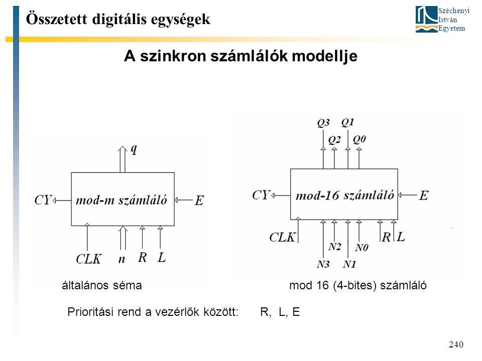 Széchenyi István Egyetem 240 A szinkron számlálók modellje Összetett digitális egységek általános sémamod 16 (4-bites) számláló Prioritási rend a vezérlők között: R, L, E