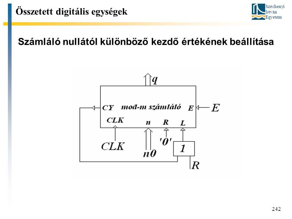 Széchenyi István Egyetem 242 Számláló nullától különböző kezdő értékének beállítása Összetett digitális egységek