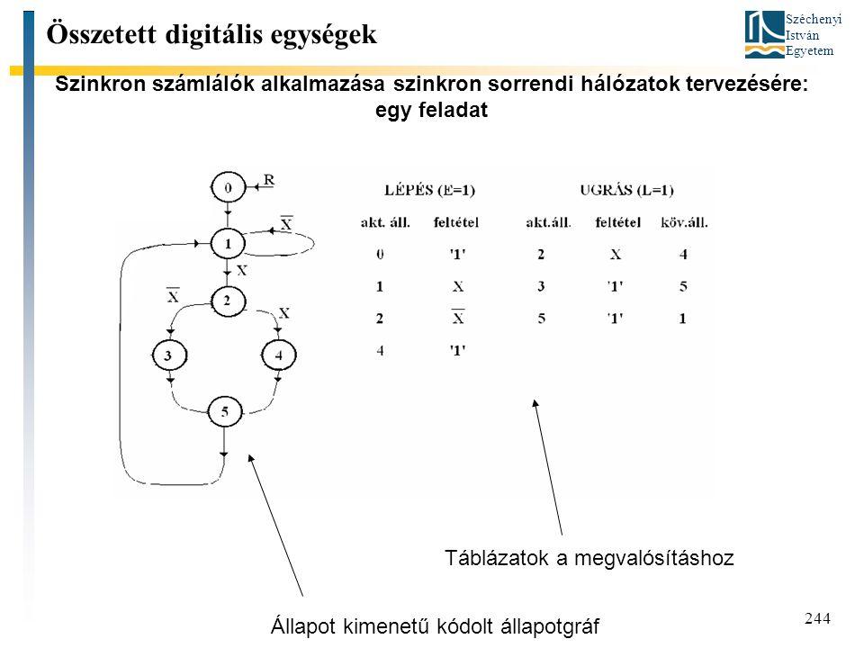 Széchenyi István Egyetem 244 Szinkron számlálók alkalmazása szinkron sorrendi hálózatok tervezésére: egy feladat Összetett digitális egységek Állapot kimenetű kódolt állapotgráf Táblázatok a megvalósításhoz