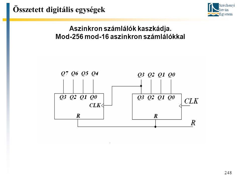 Széchenyi István Egyetem 248 Aszinkron számlálók kaszkádja. Mod-256 mod-16 aszinkron számlálókkal Összetett digitális egységek