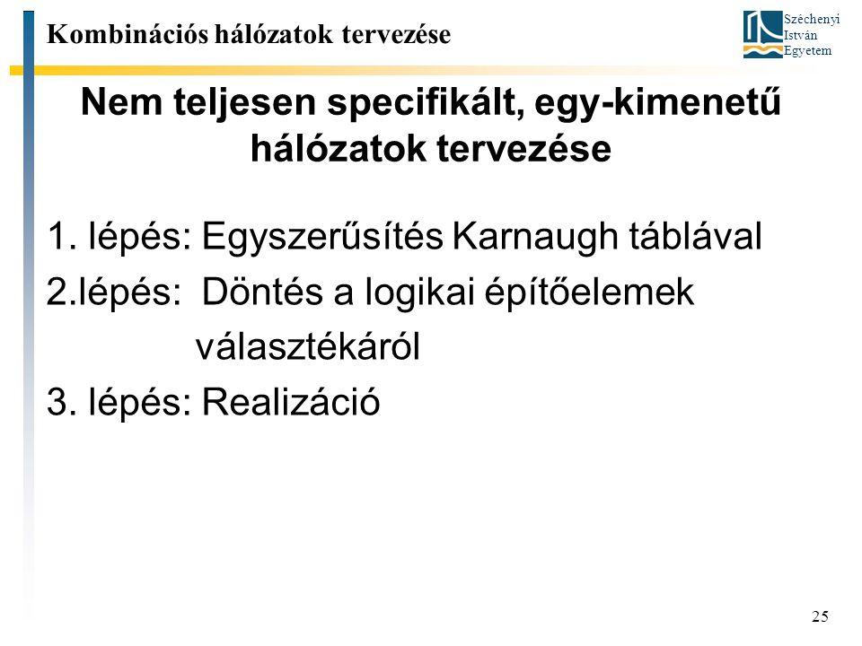 Széchenyi István Egyetem 25 Nem teljesen specifikált, egy-kimenetű hálózatok tervezése Kombinációs hálózatok tervezése 1. lépés: Egyszerűsítés Karnaug
