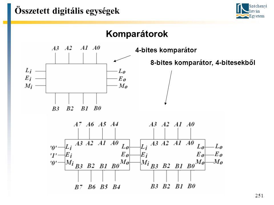 Széchenyi István Egyetem 251 Komparátorok Összetett digitális egységek 4-bites komparátor 8-bites komparátor, 4-bitesekből
