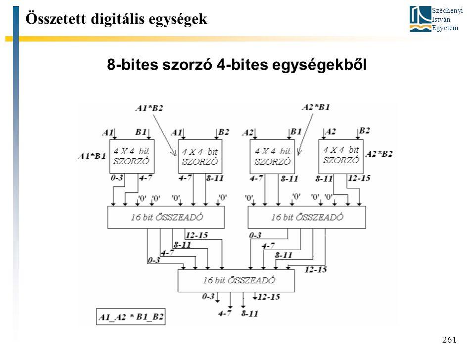 Széchenyi István Egyetem 261 8-bites szorzó 4-bites egységekből Összetett digitális egységek