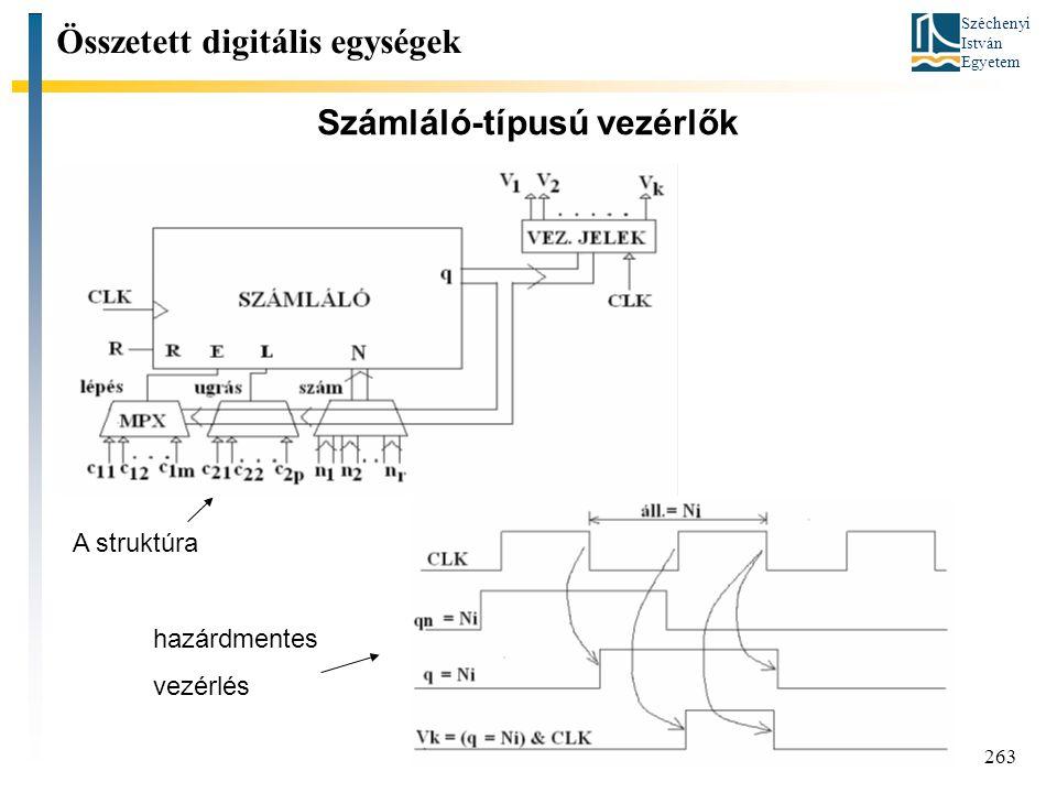 Széchenyi István Egyetem 263 Számláló-típusú vezérlők Összetett digitális egységek A struktúra hazárdmentes vezérlés
